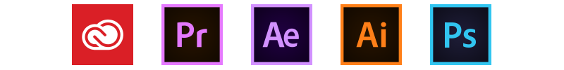 The Adobe Suite icons Creative Cloud, Premiere Pro, After Effects, Photoshop, Illustrator