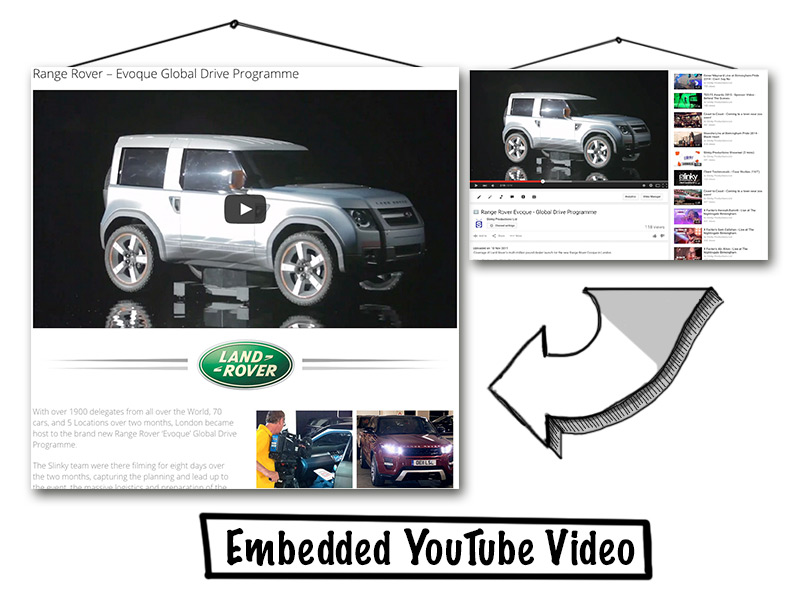 Youtube embedded video display with land rover branding video