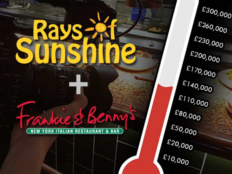 Frankie and Benny's logo with Rays of Sunshine logo showing a money raised thermostat bar