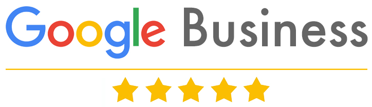 Google Business graphic banner with star rating.