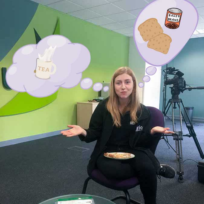 Photo of Magdalena Velkova having lunch at Edenhouse Solutions, thinking about beans on toast and tea with milk.