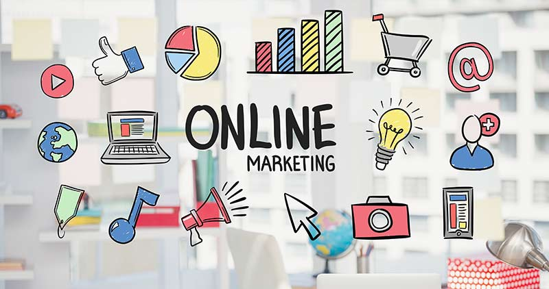 Online Marketing Graphic with cartoon Icons