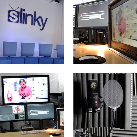 Slinky Productions editing photo split showing editing Suite