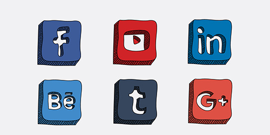 cartoon graphic of different social media logos