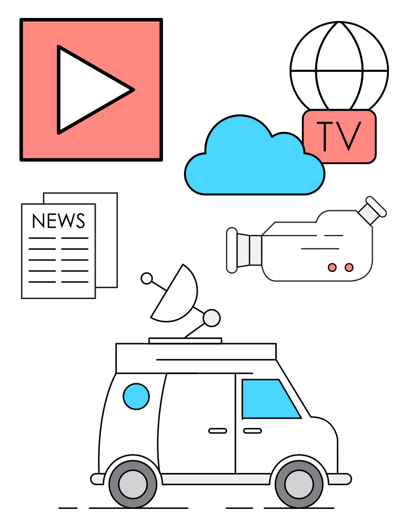 TV and Broadcast simple line and colour graphics.