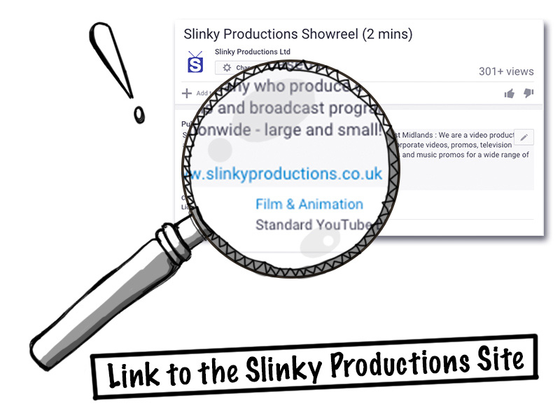 Youtube video description showing Slinky Productions website link
