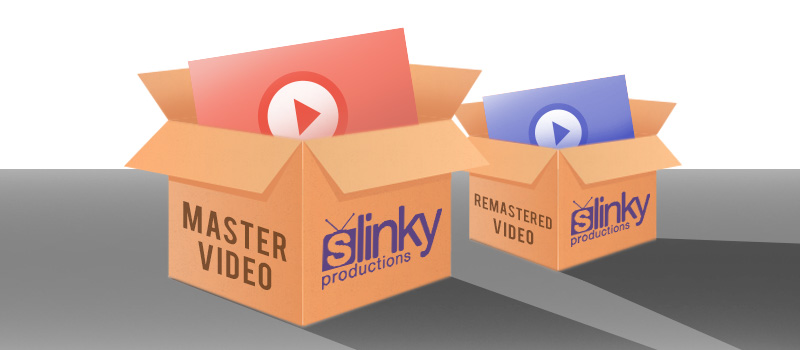 Video mastering and remastering process box graphic.