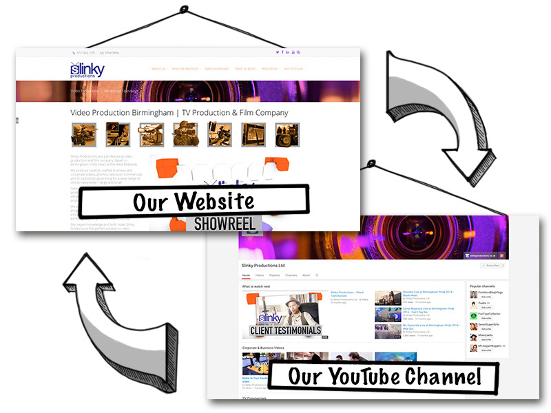 Youtube and the Slinky Productions website with cross brand design