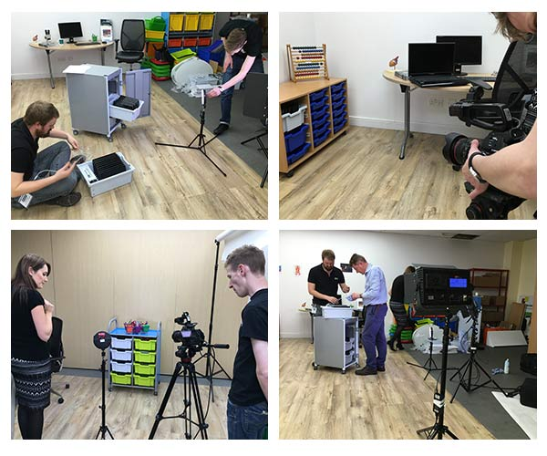 behind the scenes filming for promotional video for Gratnells PowerTray