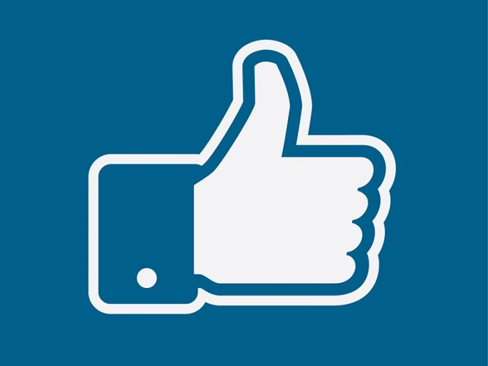 Facebook like graphic on blue