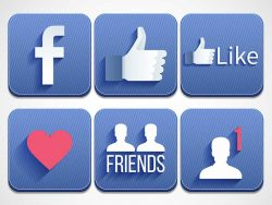 blue Facebook icons on white