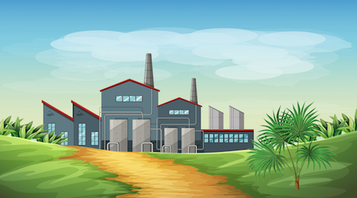 factory in a countryside