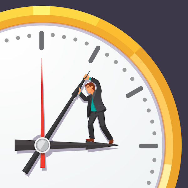 nishing projects on time, man trying to stop time