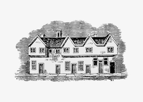 a drawing of an old building