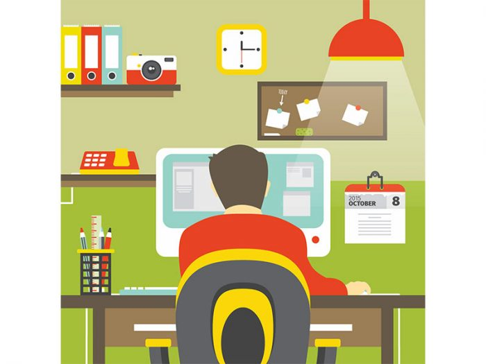 Man sits at computer desk graphic.