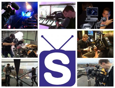 Montage of slinky staff on set working