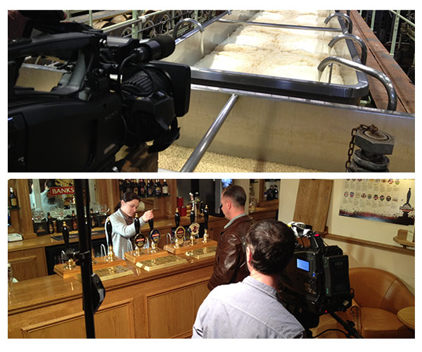 behind the scenes shots from on location filming for Marstons