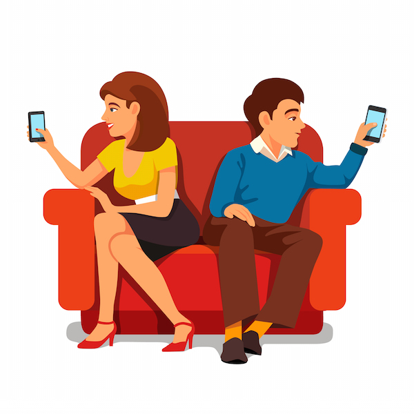 couple with smartphones, smartphone addiction