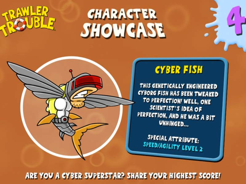 character showcase of cyber fish from trawler trouble