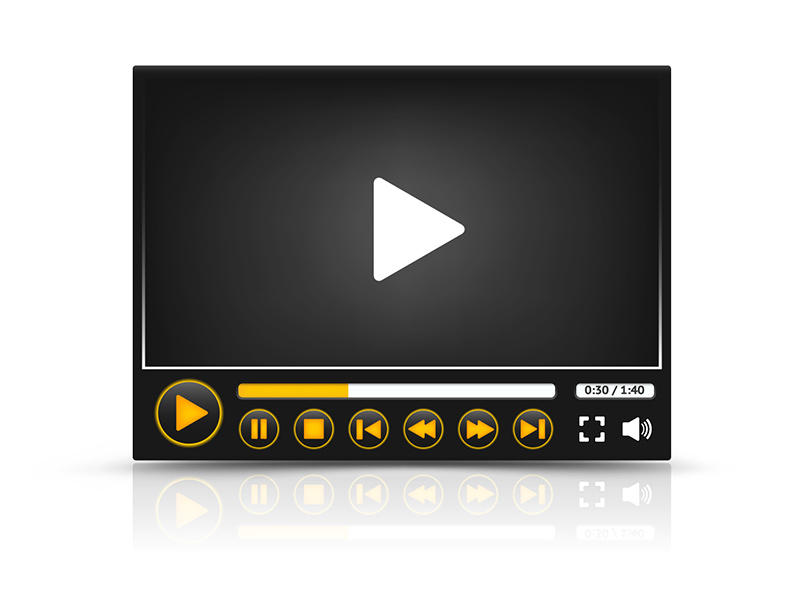 Video player in black with playback controls.