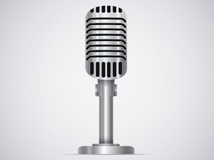Microphone on white background, vintage, silver.