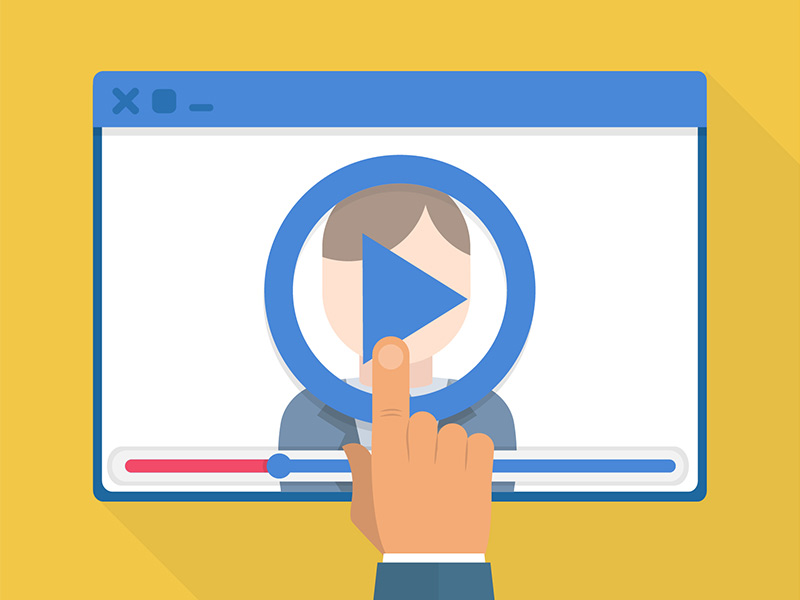video player with hand pushing play