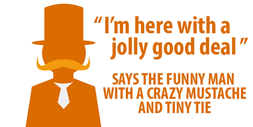 Salesman top hat selling deal funny text.