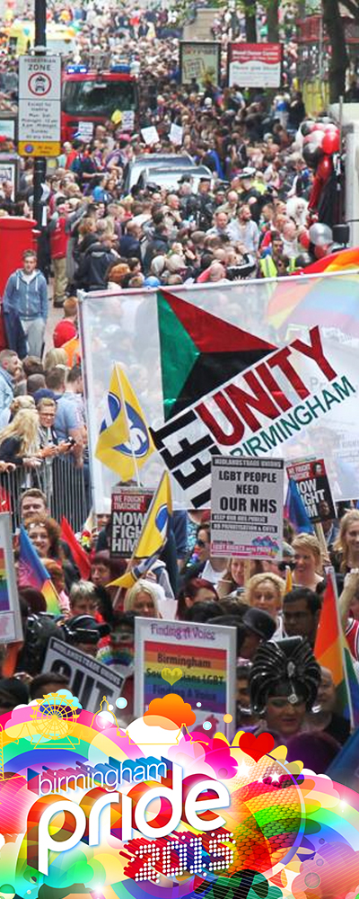 Birmingham Pride unity flag crowed event