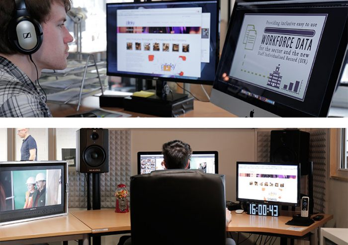 Editors in the Slinky Productions Edit Suite