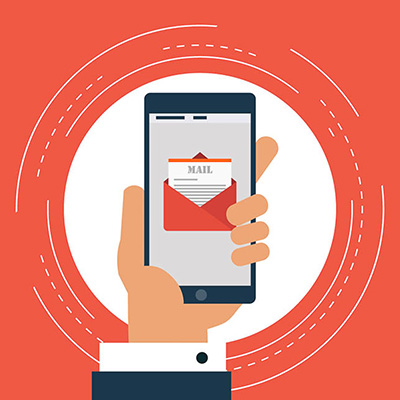 Mobile phone email graphic in hand.