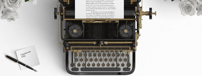 Retro typewriter with script.