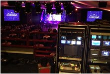 Photo of the Pride Ball 2013, behind lighting and sound desk