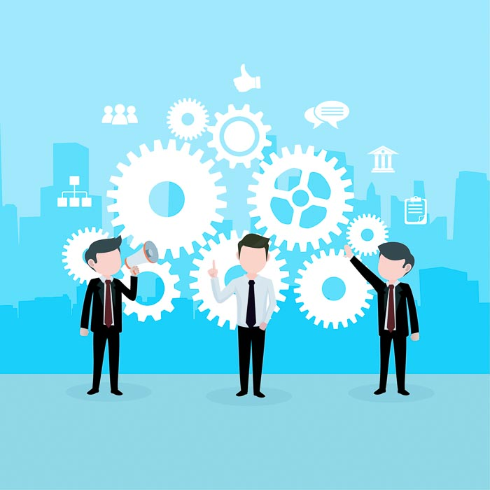 Businessmen on a blue background graphic illustrating productivity and efficiency through cogwheels