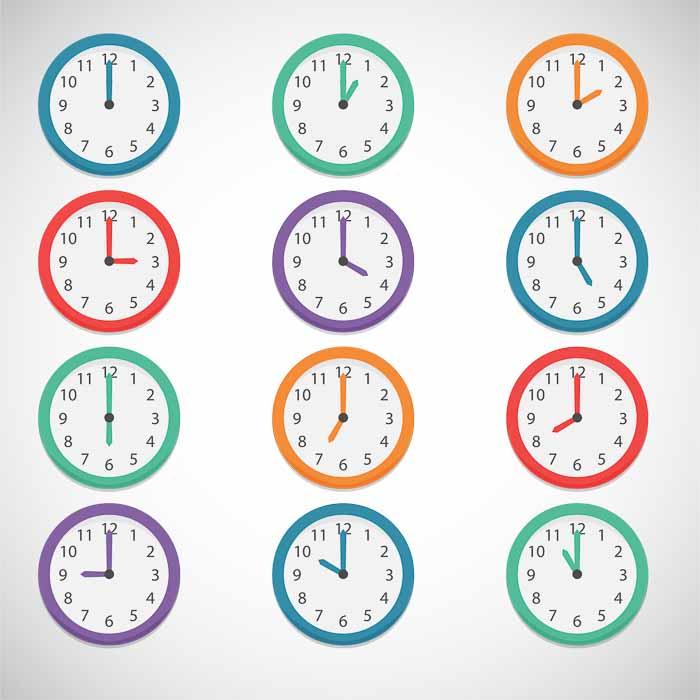 Colourful clocks illustration