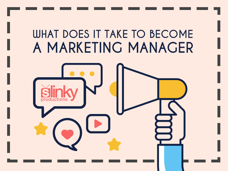 Marketing manager megaphone graphic.