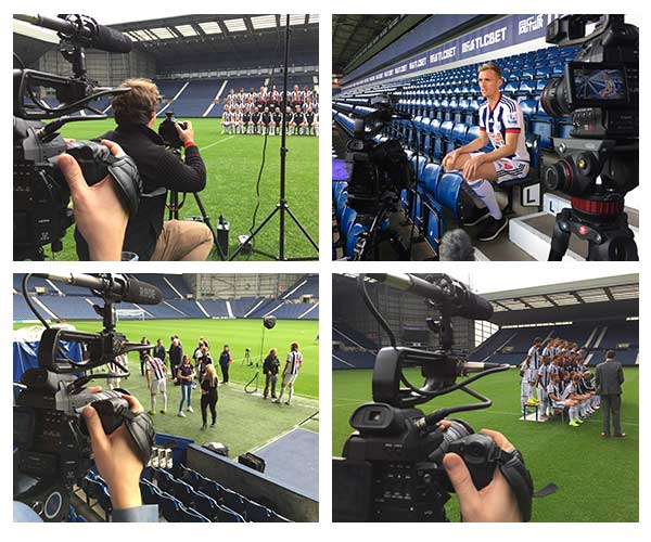 behind the scenes photos from filming for West Bromwich Albion FC squad photo shoot video