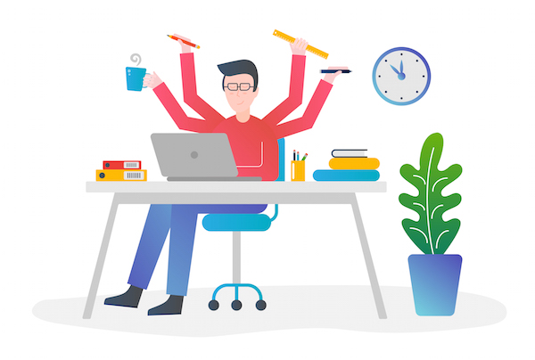 a very busy person thining how to stop being busy