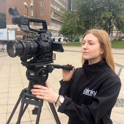 Magdalena Velkova assisting on shoot for Aston business school.